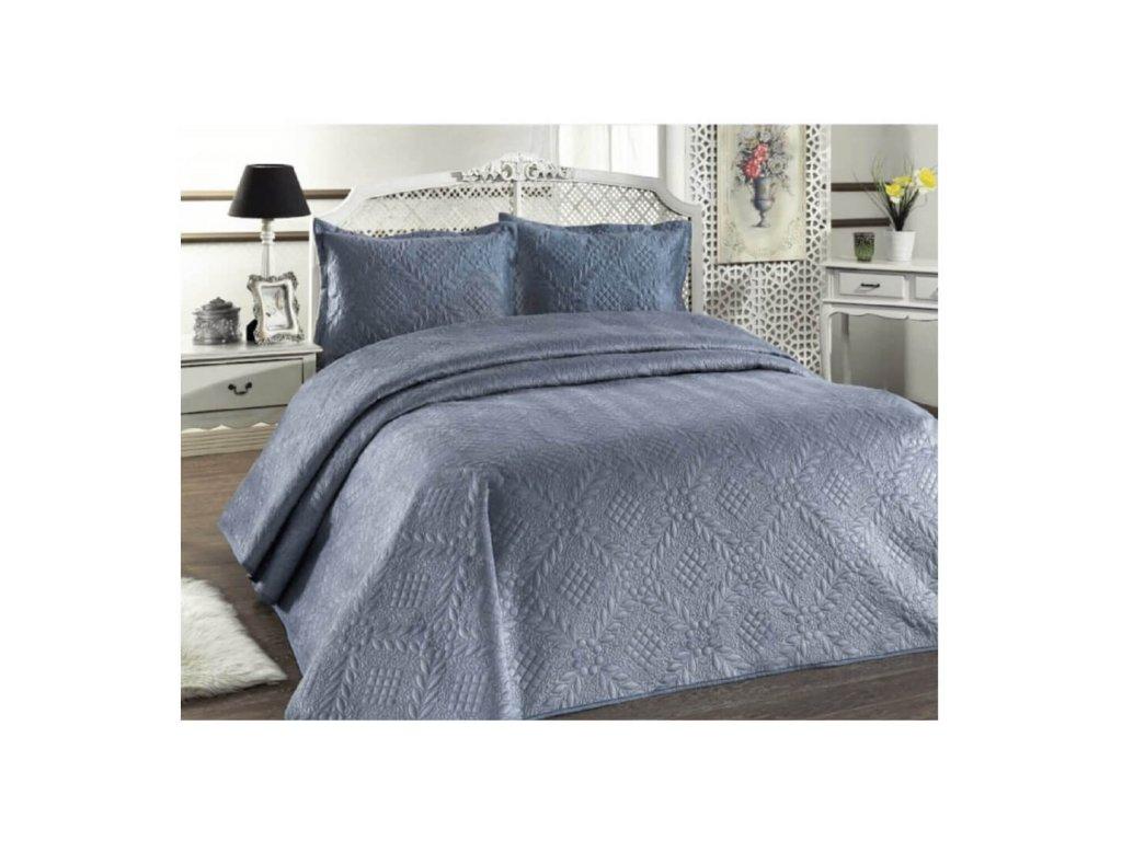 Luxusní přehoz na postel Evelyn modrošedý 220x240 cm