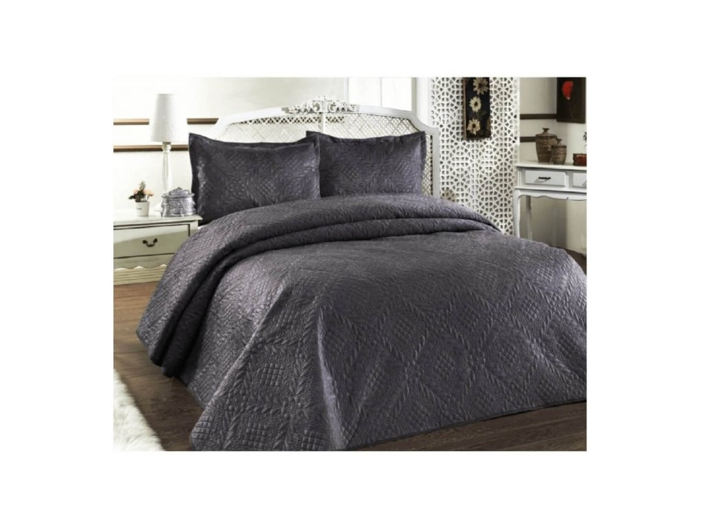 Luxusní přehoz na postel Evelyn antracit 220x240 cm