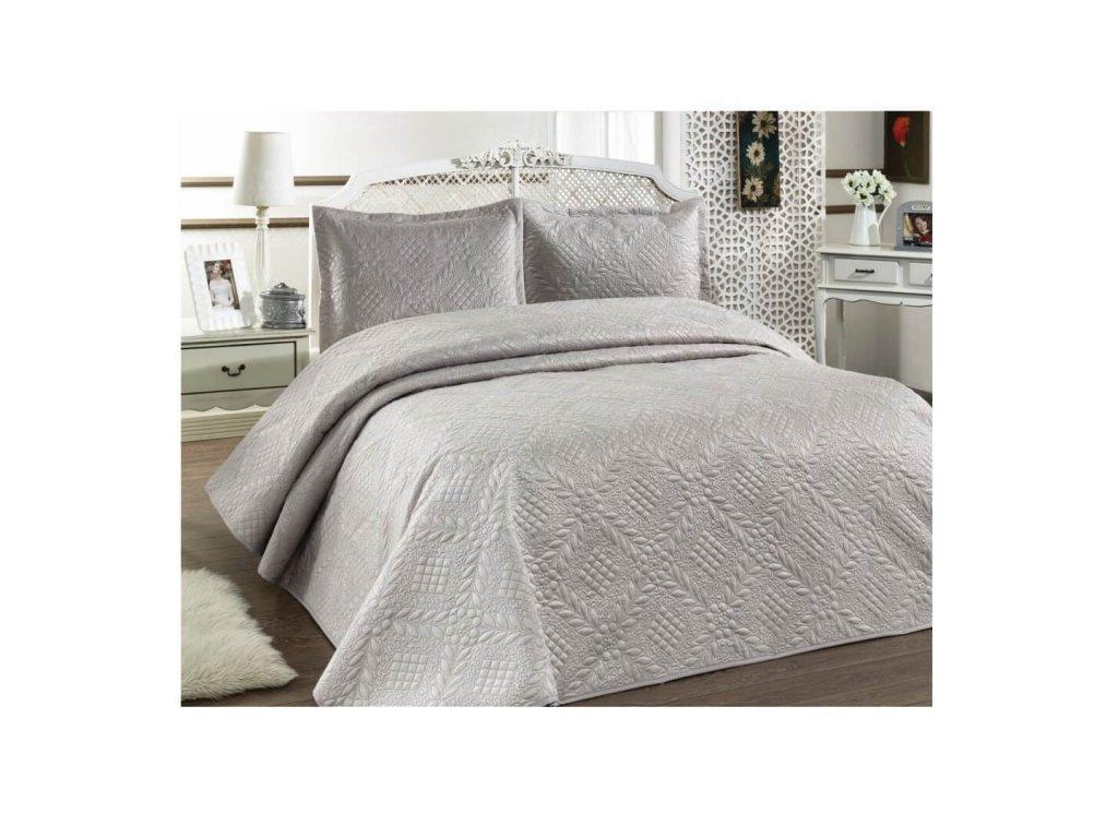 Luxusní přehoz na postel Evelyn šedá 220x240 cm