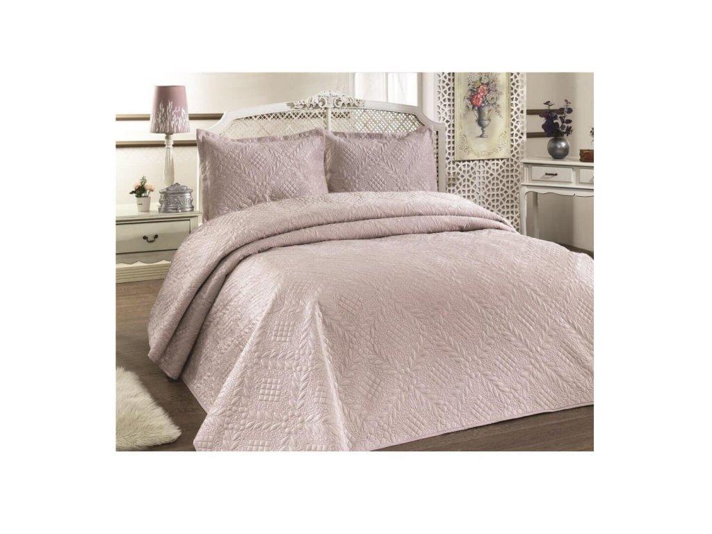 Luxusní přehoz na postel Evelyn mandlová 220x240 cm