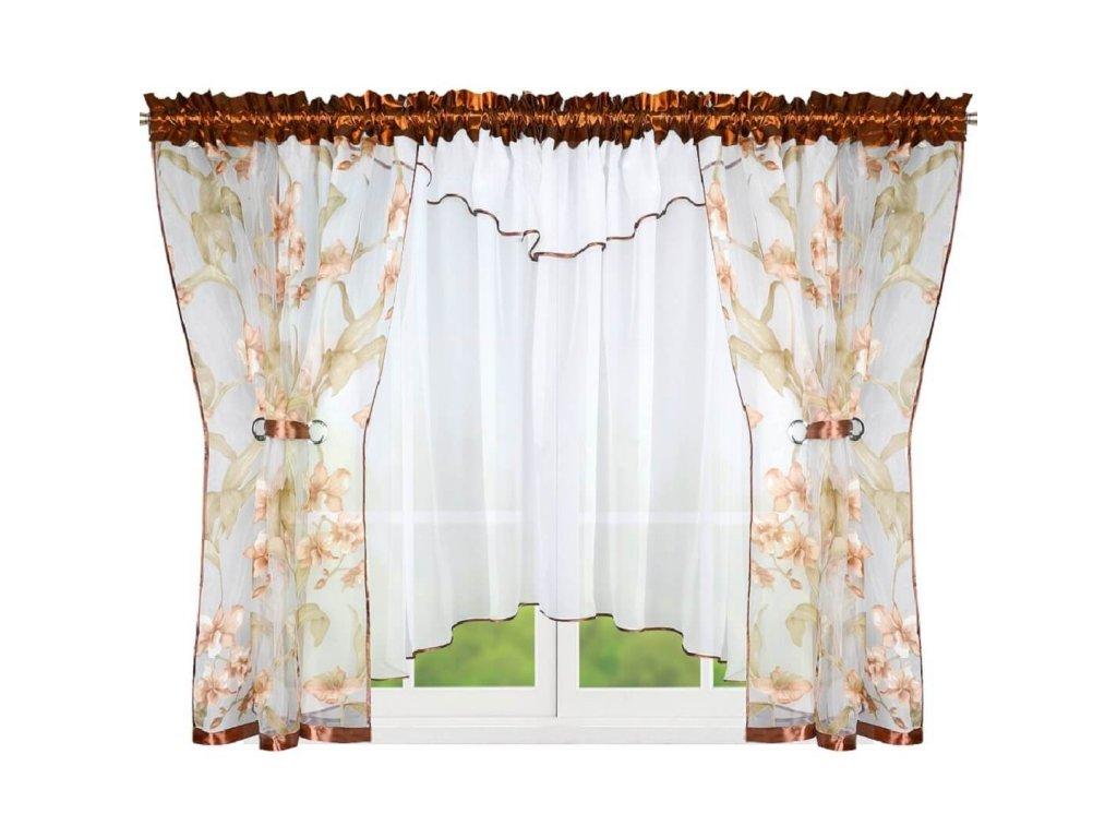 Hotová  záclona s lehkým závěsem Hnědé květy 450x150 cm