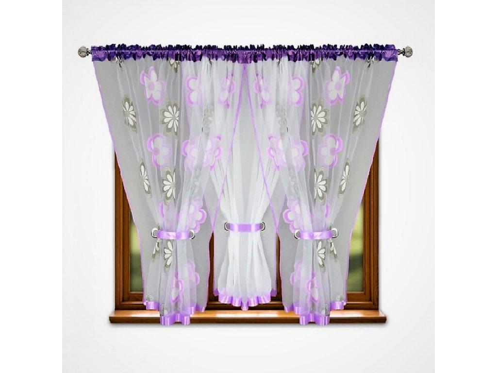 Hotová záclona trojdílná Kokosové květiny fialový 400x150 cm