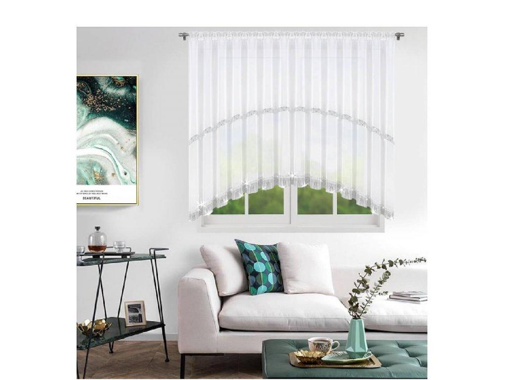 236 Hotová voálová záclona Helena bílá se zirkony 400x150 cm