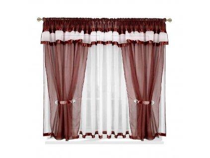 37 Voálová kusová záclona s závěsem Alena hnědá 400x150 cm