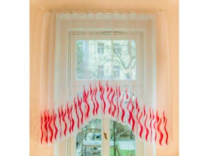 Hotová oblouková záclona - Sklo červená, 300x160 cm