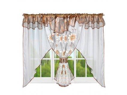 123 Hotová kusová záclona Claudia hnědá 400x150 cm
