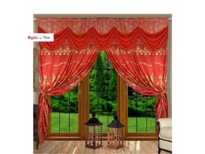 159 Luxusní hotová kusová záclona Donatella červená 300x250 cm