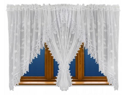 Luxusní hotová kusová záclona Rozálie bílá  400x160 cm