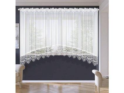 Hotová voálová  záclona Monika krajka bílá  400x180 cm