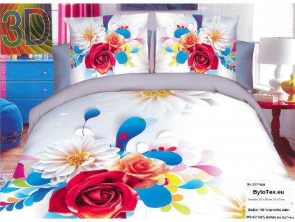 Luxusní prošívaný přehoz na postel Flowers, 220x240 cm