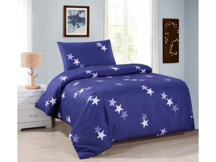 Ložní povlečení - Modré hvězdy 140x200 cm 70x90 cm