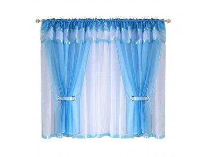 37 Voálová kusová záclona s závěsem Alena modrá 400x150 cm