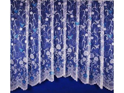 Hotová oblouková záclona Motýli na květinách 280x120 cm