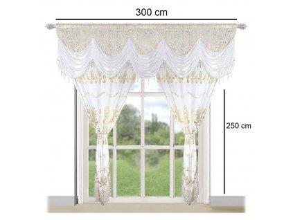 Luxusní hotová kusová záclona Donatella bílá 300x250 cm