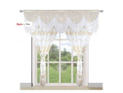 159 Luxusní hotová kusová záclona Donatella bílá 300x250 cmm