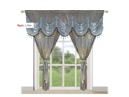 159 Luxusní hotová kusová záclona Donatella šedá 300x250 cm