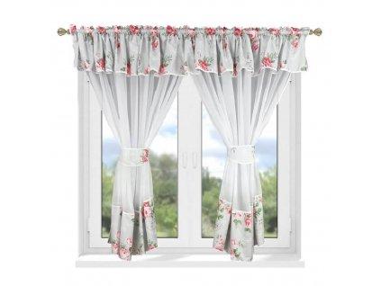 208 Luxusní hotová kusová záclona Milena růžová 400x160 cm