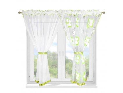 207 Hotová záclona Kokosové květiny zelená 400x150 cm2