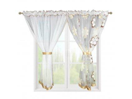 207 Hotová záclona Kokosové květiny cappuccino 400x150 cm