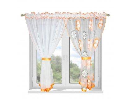 207 Hotová záclona Kokosové květiny oranžová 400x150 cm