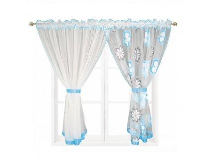 207 Hotová záclona Kokosové květiny modrá 400x150 cm