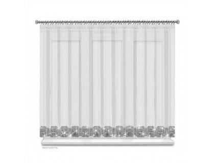 Hotová voálová záclona Helena bílá se zirkony 300x150 cm