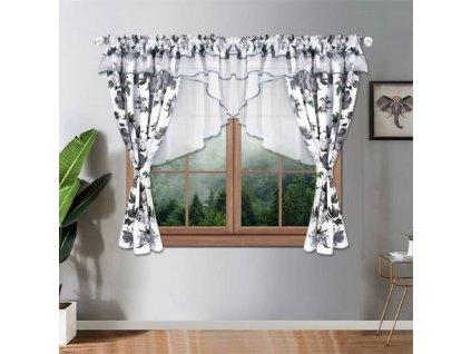 204 Luxusní hotová kusová záclona Sofie šedá 400x155 cm