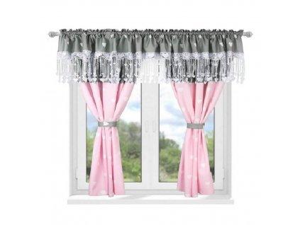 161 Luxusní hotová záclona Josefína růžová 300 x 160 cm