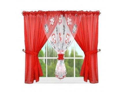 95 Hotová kusová záclona L 95 4 červená 400x150 cm