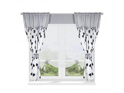 202 Luxusní hotová záclona s panelem Josefína černobílý 420 x 160 cm