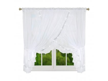 Hotové voálové záclony - Helena bílá se zirkony 400x160 cm