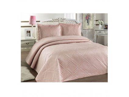 Luxusní přehoz na postel Evelyn pudrový 220x240 cm