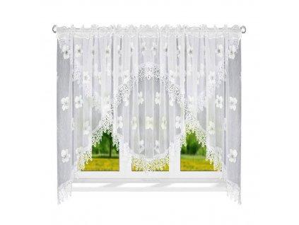 78Luxusní hotová kusová záclona LG 78 šedé květy 400x170 cm