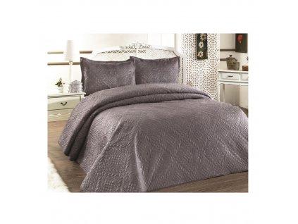 Luxusní přehoz na postel Evelyn hnědá 220x240 cm