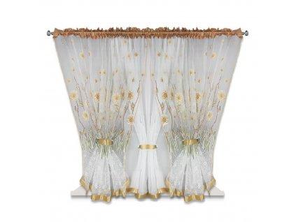 53 Hotová kusová záclona trojdílná Flower 400x150 cm