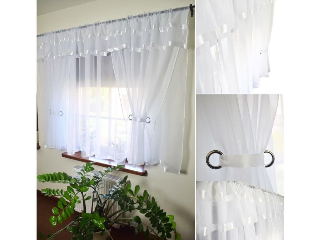 BytoTex Voálová kusová záclona Alena bílé lemování 400x150 cm