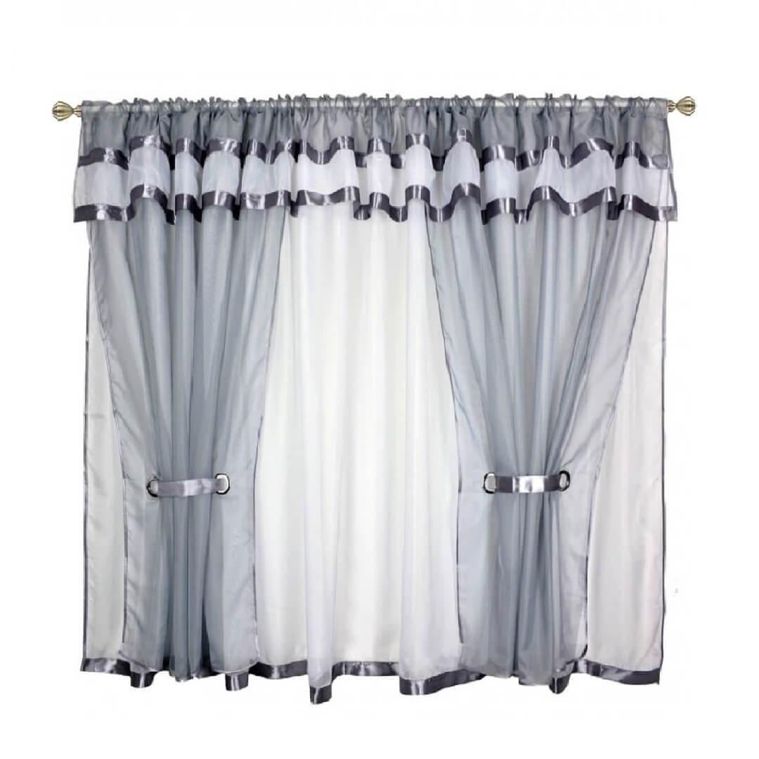 BytoTex Voálová kusová záclona Alena šedá lemování, 400x150 cm