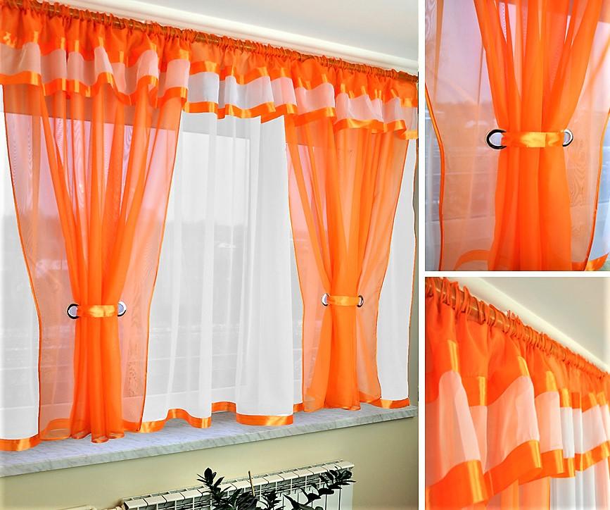 BytoTex Voálová kusová záclona Alena oranžová lemování, 400x150 cm