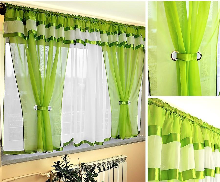 BytoTex Voálová kusová záclona Alena zelená lemování, 400x150 cm