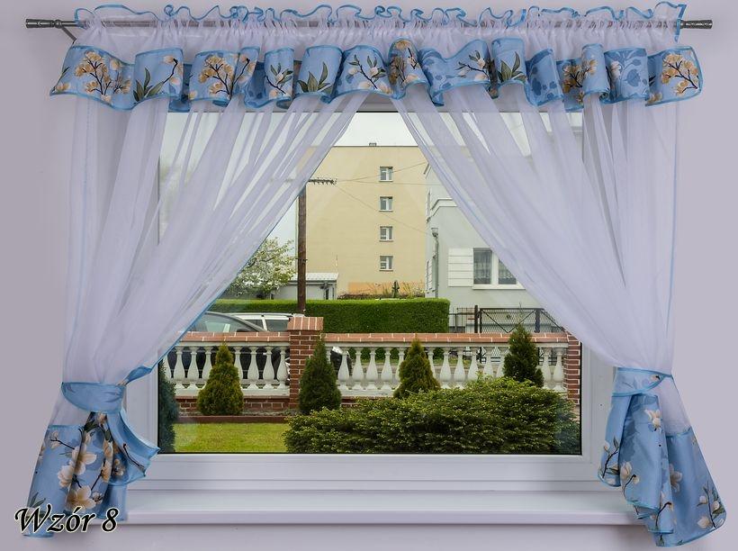 LiSin Hotová kusová záclona Milena modrá s květinami(8) 400x150 cm