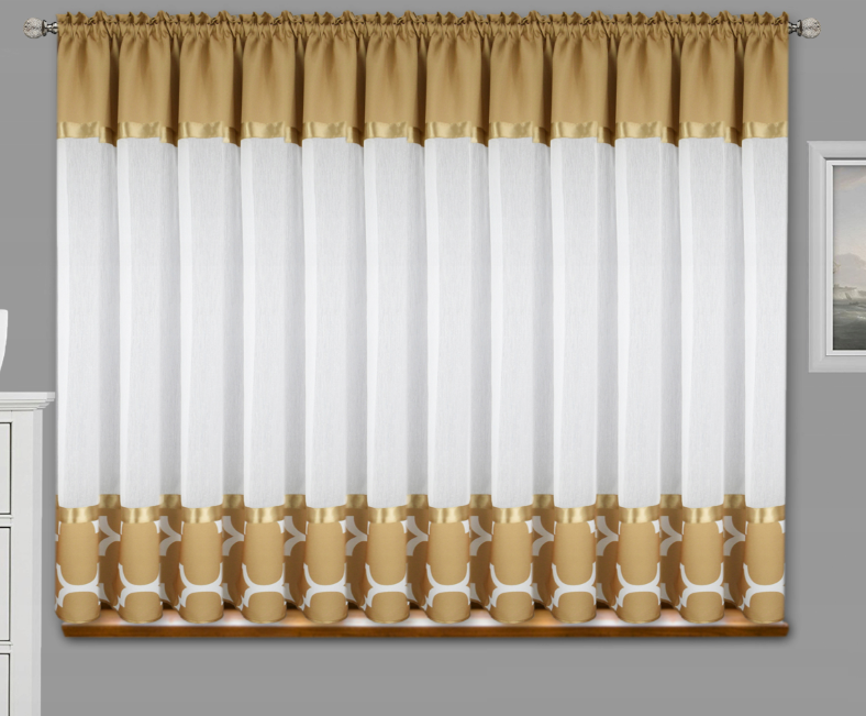 FLYING Luxusní hotová kusová záclona Maroko cappuccino 400 cm x 160 cm