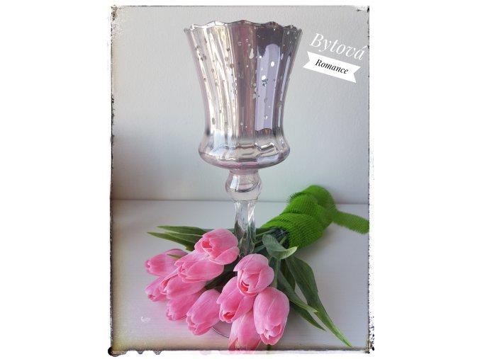 Skleněný svícen - růžový nízký