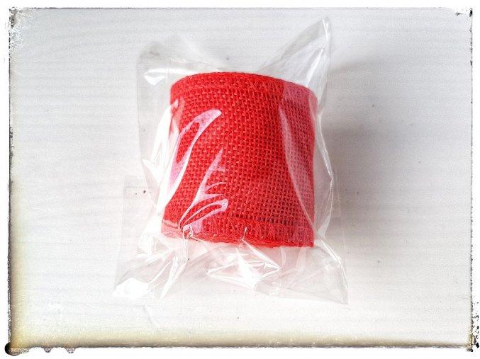 Stuha imitace juty, červená