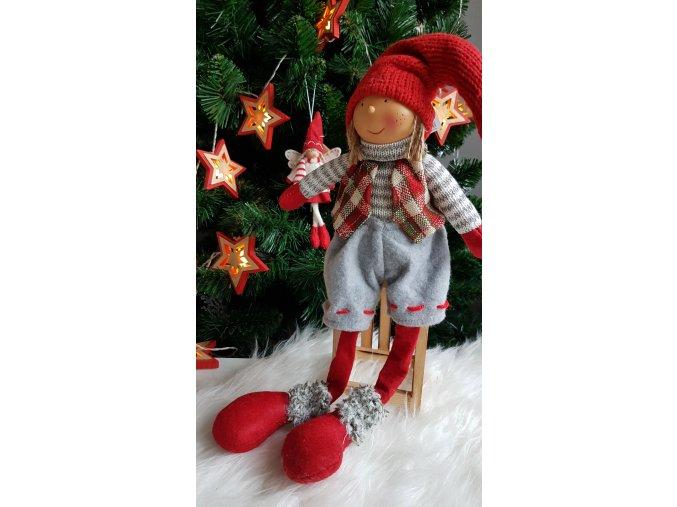 Vánoční panenka šedá - nohatá 58cm