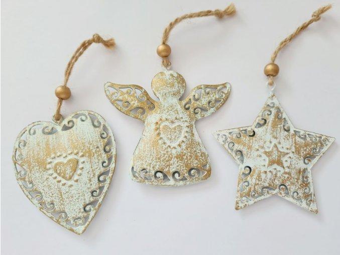 Vánoční ozdoby 3ks - zlaté