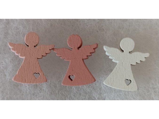 Dřevěný andílek 1,8cm sv. růžový