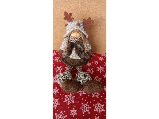 Vánoční sedící panenka s čepicí