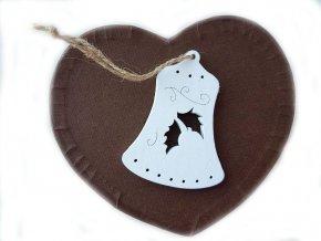 Dřevěný zvoneček, 6 ks bílá