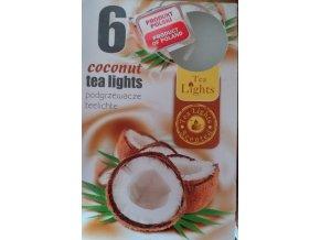 Čajová svíčka kokos, 6ks