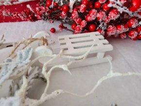 Sáňky dekorační bílé 9cm